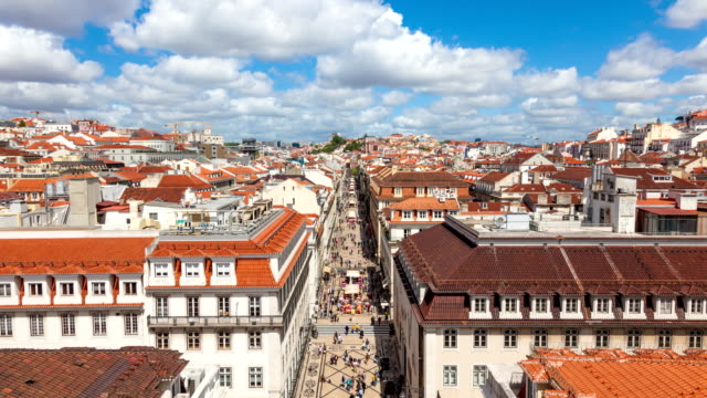 4K timelpase of Augusta street near commerce square in Lisbon , Portugal - UHD