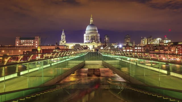 Timelpase of the Millennium Bridge with St Paul's Cathedral in the London video