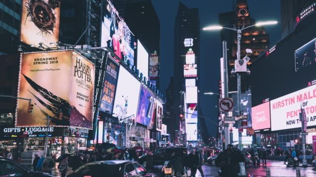 vídeos y material grabado en eventos de stock de t/l ws zi times square por la noche / manhattan, nueva york - prosperidad