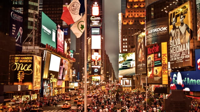 Times Square at night video