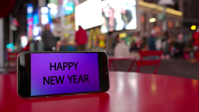 times square new york happy new year smartphone celebration crowd video