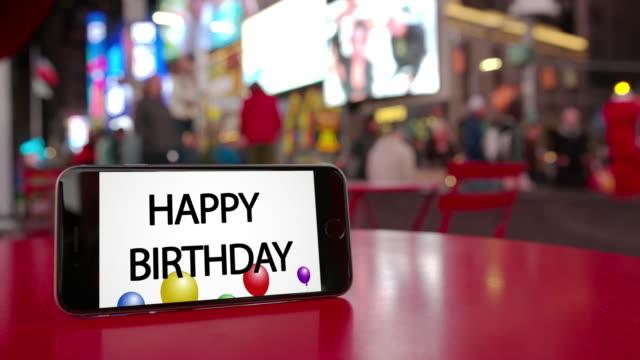 タイムズ スクエア ニューヨーク スマート フォンお誕生日おめでとうお祝い群衆 ビデオ