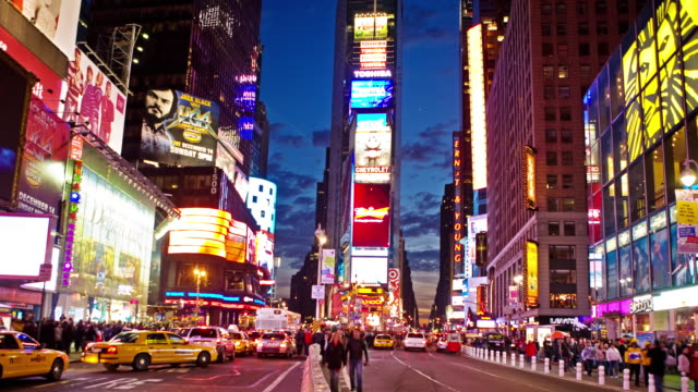 0026 Times Square Time Lapse at Magic Hour 4K video