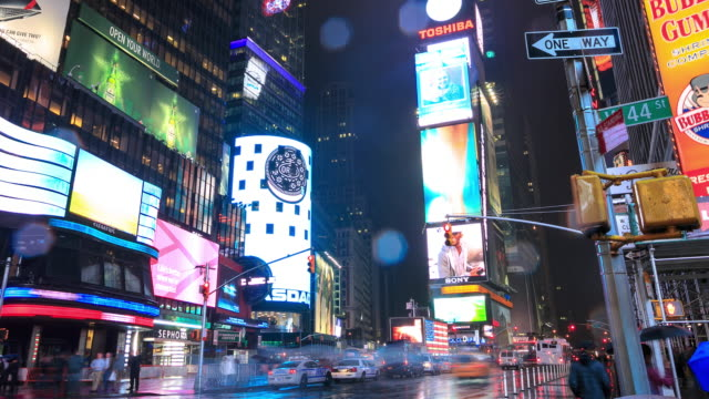 Times Square traffic at night video