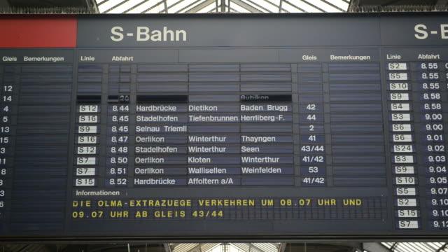 harmonogram ekspozycja poklatkowa w zurychu główny dworzec kolejowy - wchodzić na pokład filmów i materiałów b-roll