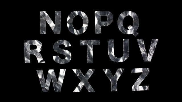 tin foil animated alphabet - aluminum foil stock videos & royalty-free footage