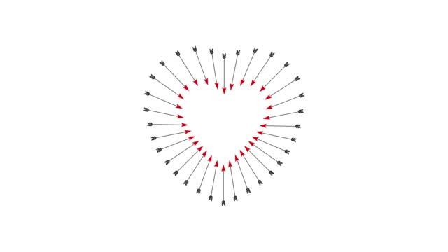 tips of the arrows create a shape of heart