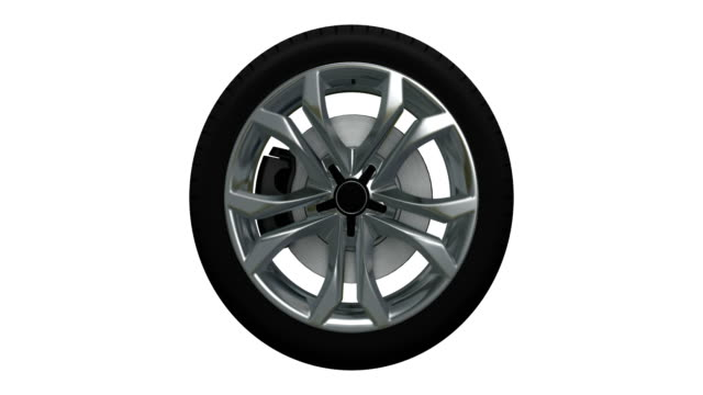 Tire blurred motion loopable spin with luma matte