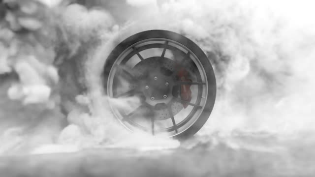 Tire Burnout. Burning rubber and Smoking tire with a rotating wheel with thick Smoke on dark background.