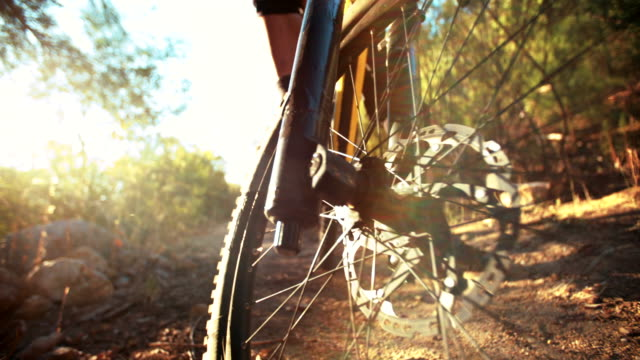 Tire of a mountain bike with good tread outdoors video