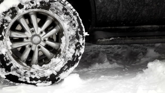 Tire slipping on snow video