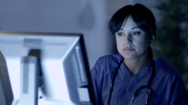 Tired and exhausted medical staff member working late video