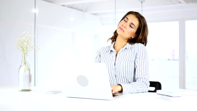 Tired Woman at Work Relaxing, Neck Pain Tired Woman at Work Relaxing, Neck Pain neck stock videos & royalty-free footage