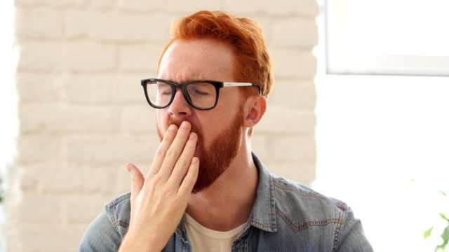 Tired Yawning Man with Beard and Red Hairs, Portrait Tired Yawning Man with Beard and Red Hairs, Portrait, Creative designer , businessman yawning stock videos & royalty-free footage