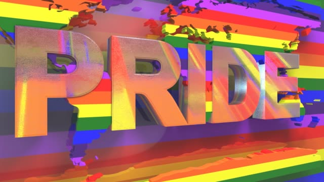 Title 3D render LGBT Gay Lesbian Pride Mardi Gras LGBTQIA Gay Pride graphic background title 3D render. The letters LGBT & LGBTQIA refer to lesbian, gay, bisexual, transgender, queer or questioning, intersex, and asexual or allied. cisgender stock videos & royalty-free footage