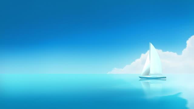 Titel. Yacht Segeln, einsam Boot, weiße Segel-und-Schlaufen-Verschluss. – Video