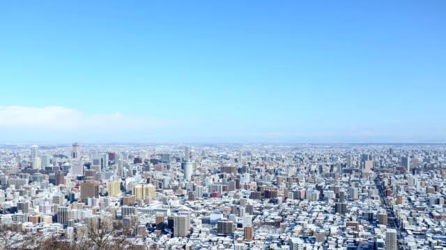tme lapse of sapporo in winter - hokkaido bildbanksvideor och videomaterial från bakom kulisserna