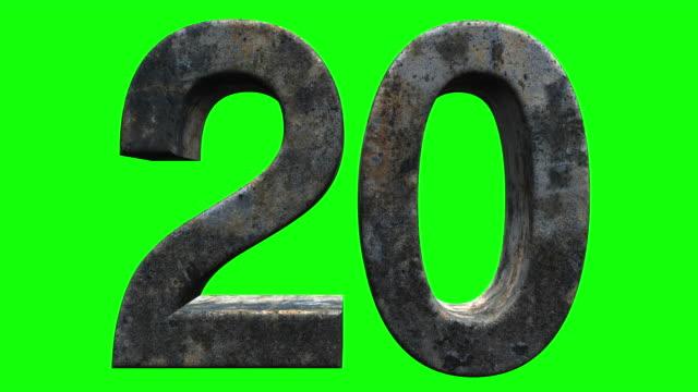 vídeos de stock, filmes e b-roll de 30 a 1 contagem regressiva contra um fundo de tela verde - números feitos de pedra clássica velha - rústico