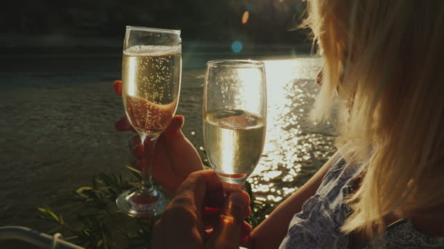 To clink glasses on a pleasure ship. A party in a river cruise, a beautiful light before sunset. POV video To clink glasses on a pleasure ship. A party in a river cruise, a beautiful light before sunset winetasting stock videos & royalty-free footage