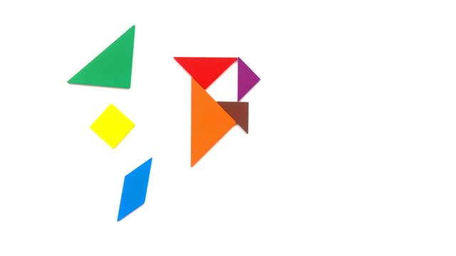 vidéos et rushes de a à f lettres en forme de tangram sur blanc - étudiant(e)