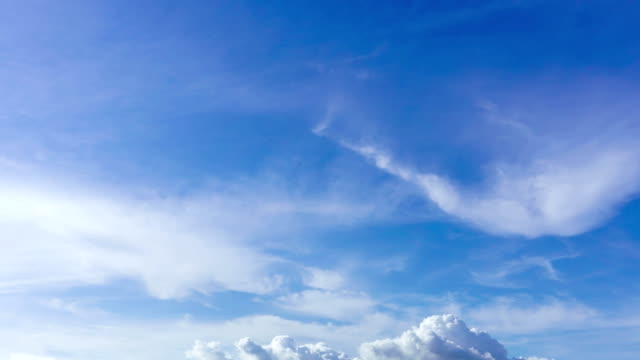 4K/UHD to HD Format Time-lapse : Cloudscape timelapse, white clouds running across the blue sky. video