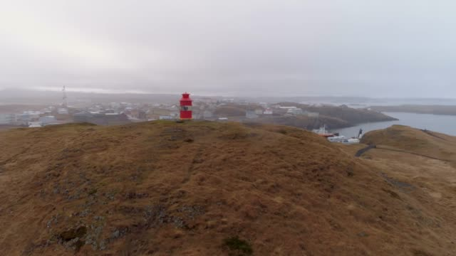 MS to WS Lighthouse at top of hill,Iceland