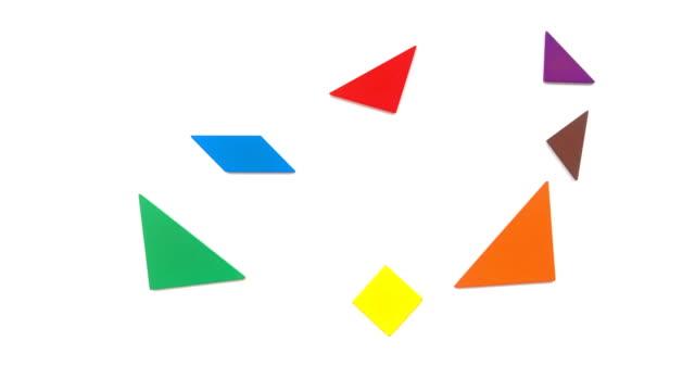 V bis Z Buchstaben geprägt von Tangram auf weiß – Video