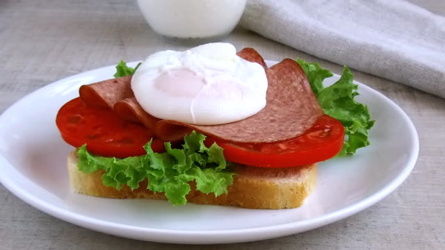 toast sandwich salad tomato salami egg poached lay out video