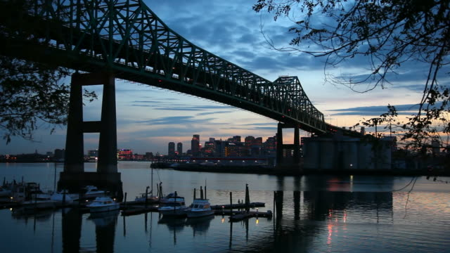 Tobin Bridge and the Boston skyline video