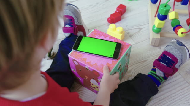 Toddler Child with Green Screen Smartphone video