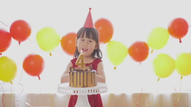 toddler girl making a wish and blowing the birthday candles video