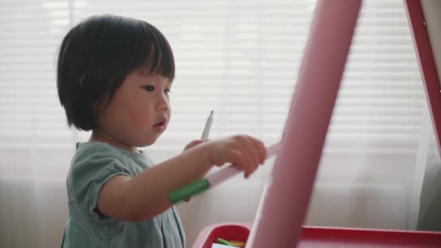 toddler girl painting on  white board at home hand hold shoot toddler girl painting on  white board at home candid stock videos & royalty-free footage