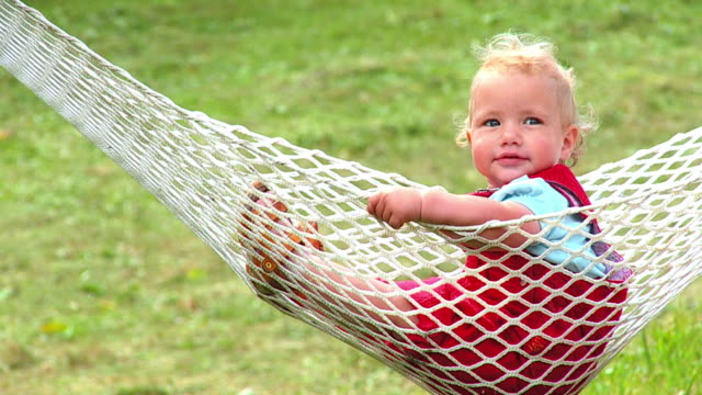 HD SLOW-MOTION: Toddler In A Hammock video