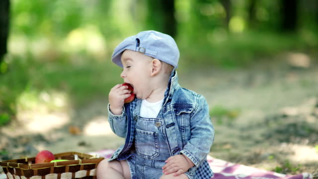 Toddler in denim suit and a cap holding apples in the hands video