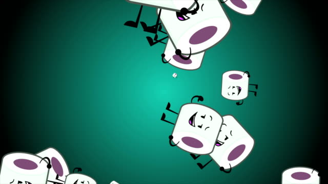 Toilet Paper Happy Smiles Toilet Roll happy Emoji particles flow illustration animation background. Toilet paper emoji smiles, characters. During NCOV, Coronavirus pandemic and panic peoples buying of toilet paper. halloween covid stock videos & royalty-free footage
