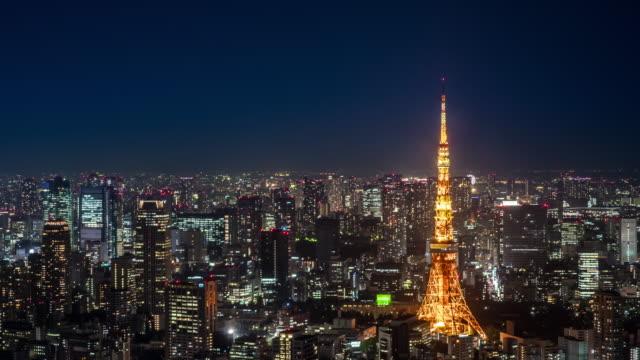 夜東京ビジネス地区 - 東京点の映像素材/bロール