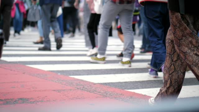 Tokyo City and Crowded pedestrian people walking Asia, Ginza, Japan, Shibuya Crossing, Tokyo - Japan human foot stock videos & royalty-free footage