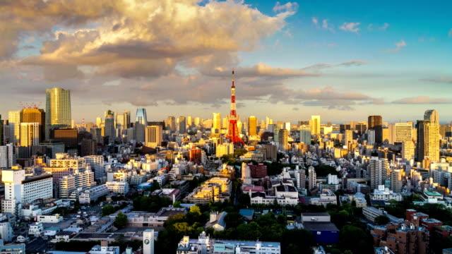 stockvideo's en b-roll-footage met tokyo city from sunset till dusk - tokio kanto