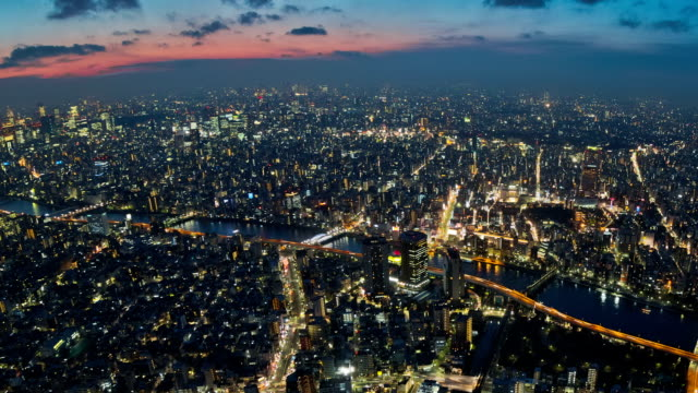 Tokyo Cityscape Time Lapse Zoom v4. horizon over land stock videos & royalty-free footage