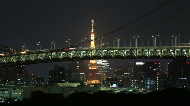 tokyo, japan / rainbow bridge - odaiba kaihin koen bildbanksvideor och videomaterial från bakom kulisserna