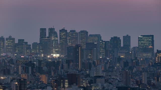 文京シビック センターから東京都、タイムラプス - 東京新宿のスカイラインを撮影 - 政治点の映像素材/bロール