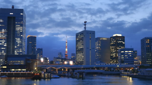 夕暮れ時の東京の海辺 - 清らか点の映像素材/bロール