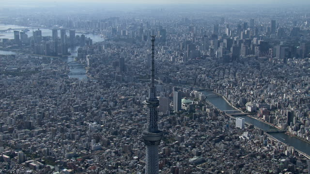 東京スカイツリー - ヘリコプター点の映像素材/bロール