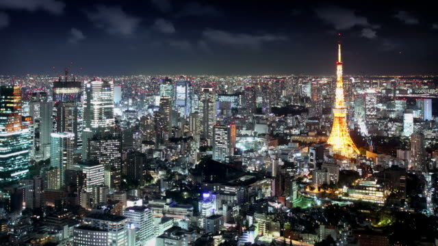Tokyo skyline at night video