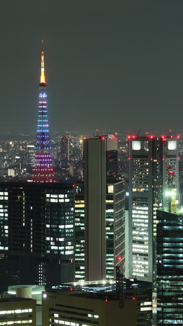 tokyo skyline time lapse vetical - vertical format video stock videos and b-roll footage