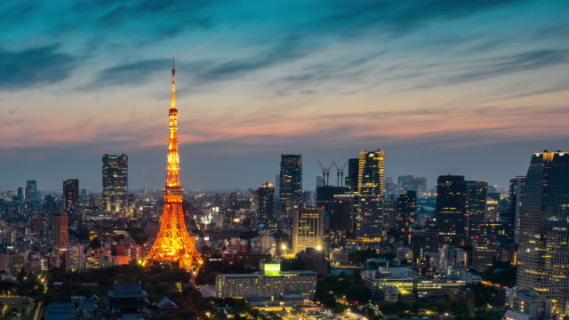 Tokyo Tower dag nachttijd vervalt video