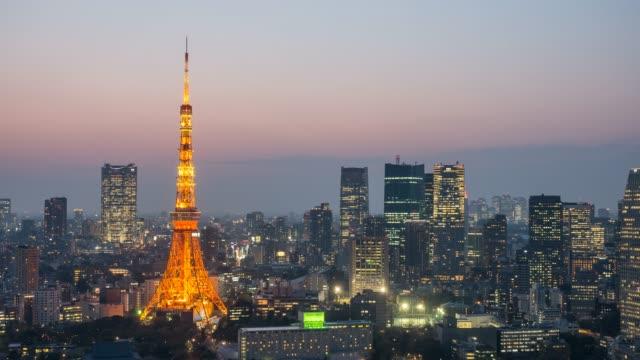 東京タワー低速度撮影日の夜 - 東京タワー点の映像素材/bロール