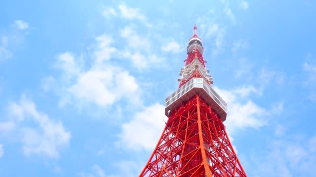Tokyo tower from bottom in blue sky video