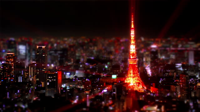 Tokyo Tower tilt-shift aerial time-lapse shot. video