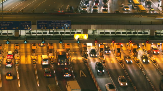 Toll road in Hong Kong at dusk